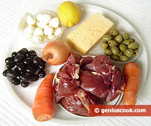 Ingredients for Salad with Chicken Liver, Cheese and Olives