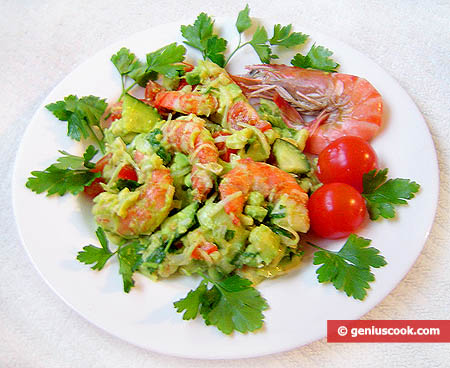 Avocado Salad with Tiger Shrimp