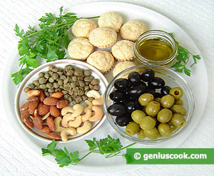 Ingredients for Olive, Capers and Almond Paste