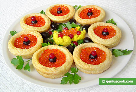 Puff Pastry Bowl Cookies Stuffed with Red Caviar