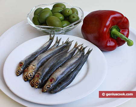 Ingredients for Anchovy and Olive Appetizer