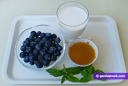 Ingredients for Milk and Blueberry Cocktail