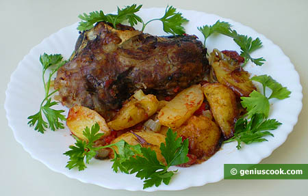 Baked Lamb's Head with Potatoes