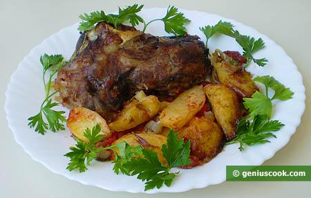 Baked Lamb's Head with Potatoes