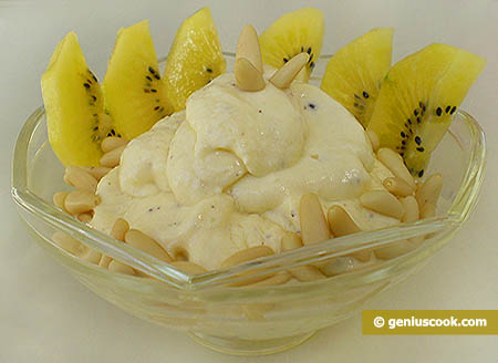 Cottage Cheese Mousse with Kiwi Fruit and Pine Nuts