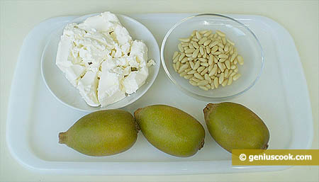 Ingredients for Cottage Cheese Mousse with Kiwi Fruit and Pine Nuts