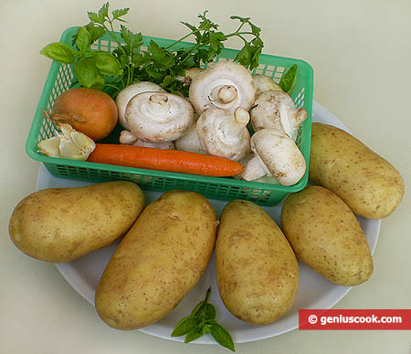 Ingredients for Potato Stuffed with Champignons