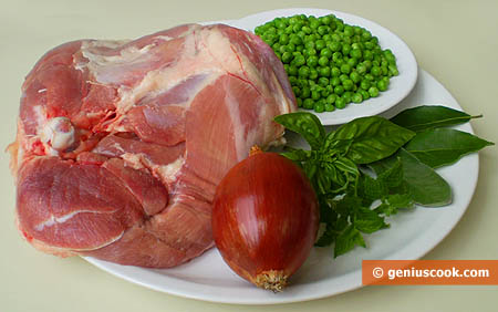 Ingredients for Stewed Turkey Leg with Peas and Spicy Herbs