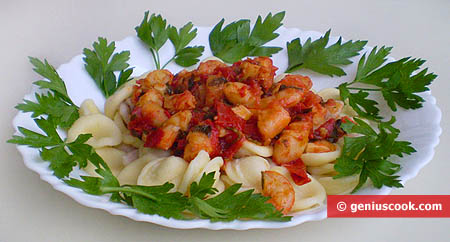Ear-Shaped Pasta with Tiger Shrimp