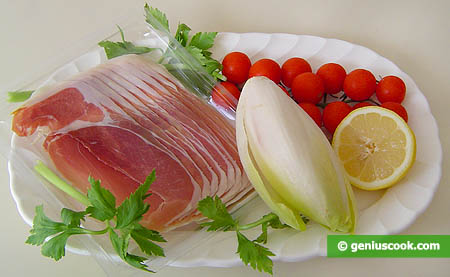 Ingredients  for Appetizer with Endive and Prosciutto Ham