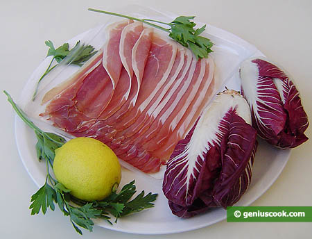 Ingredients for Appetizer with Radicchio Salad and Ham