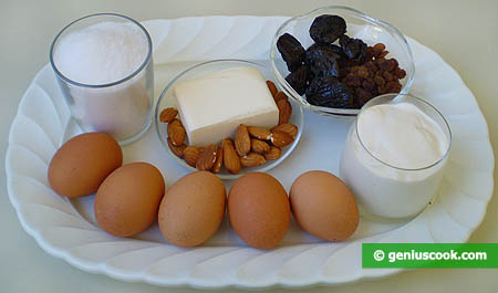 Ingredients for Fruitcakes with Prunes and Nuts