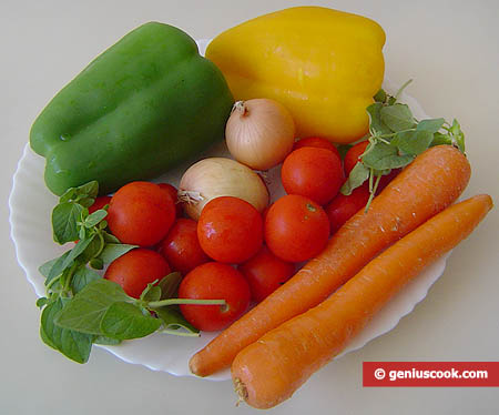 Ingredients for Cherry Tomatoes Salad with Sweet Pepper
