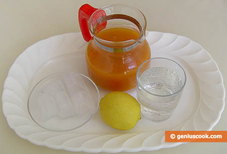 Ingredients for Cocktail with Apricot and Lemon Juice