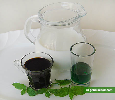 Ingredients for Milk Cocktail with Mint and Tamarind Syrup