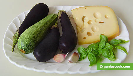 Ingredients for Tongues from Eggplants and Squashes with Cheese
