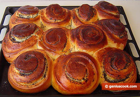 Baked Brioches on the Baking Tray
