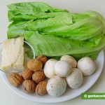 Ingredients for Salad with Raw Champignons, Nuts and Cheese
