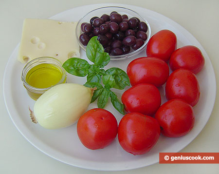 Ingredients for Tomato Salad with Olives