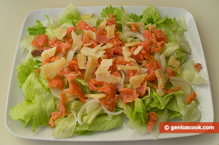 Iceberg Lettuce with Salmon and Parmesan