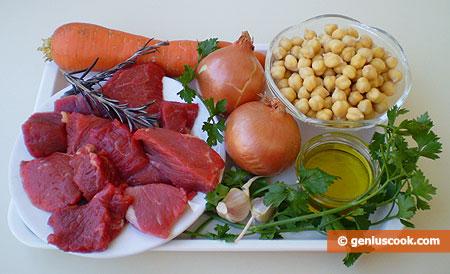 Ingredients for Chickpea with Beef and Rosemary