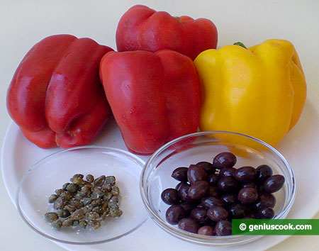 Ingredients for Pepper with Capers and Olives