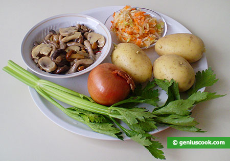 Ingredients for Salad with Mushrooms, Potato and Cabbage