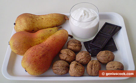 Ingredients for a Pear Dessert with Walnut and Chocolate