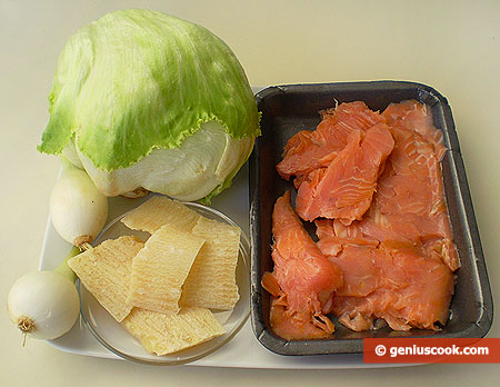 Ingridients for Iceberg Lettuce with Salmon and Parmesan