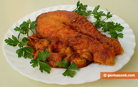 Salmon With Mussels in Tomato Sauce