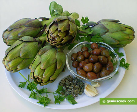 Ingredients for Artichoke Sauce with Olives and Capers