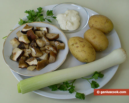 Ingredients for Cheese Soup with White Mushrooms