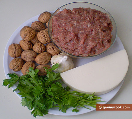 Ingredients for Meat Rolls with Walnuts and Cheese