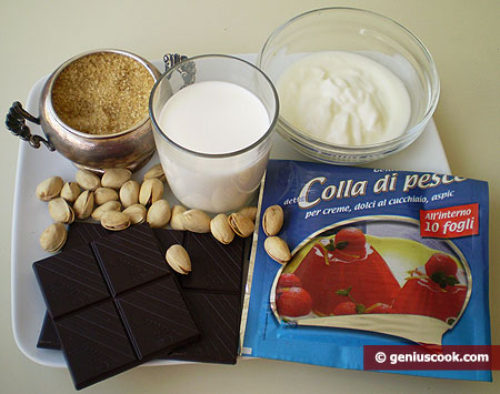 Ingredients for Panna Cotta with Chocolate and Pistachios