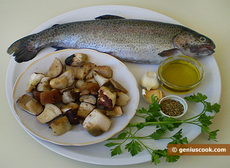 Ingredients for Rainbow Trout with White Mushrooms