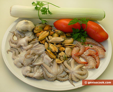 Ingredients for Soup from Octopuses, Shrimps, Mussels and Leek