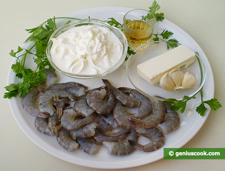 Ingredients for Tiger Shrimps in Creamy Sauce