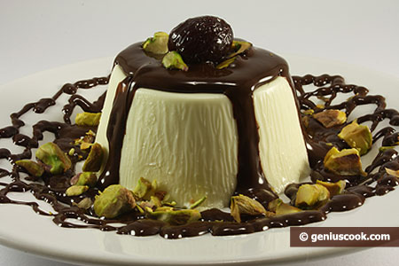 Panna Cotta with Chocolate and Pistachios