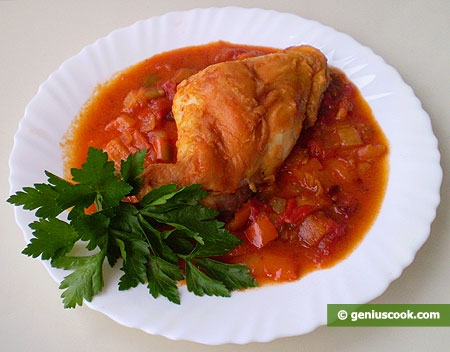 Rabbit Meat in Tomato Sauce with Sweet Pepper and Curry