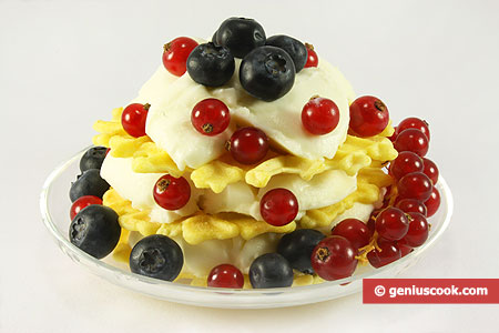 Dessert with Soufflé Cream and Fresh Berries