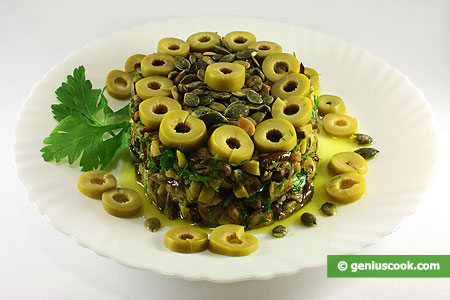 Eggplants Salad with Olives and Gourd Seeds