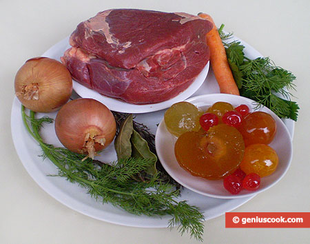 "Ingredients for Beef With Sauce ""Mostarda Di Frutta"""