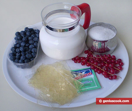 Ingredients for Dessert with Soufflé Cream and Fresh Berries