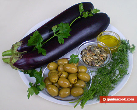 Ingredients for Eggplants Salad with Olives and Gourd Seeds