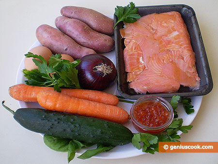 Ingredients for Salad with Smoked Salmon and Red Caviar