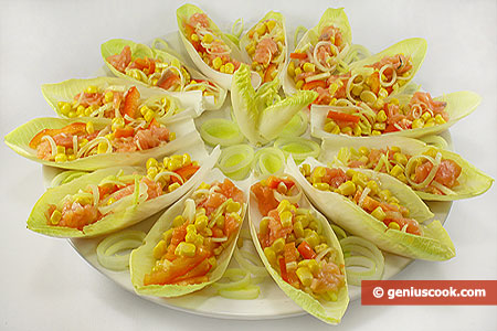 Salad with Corn and Salmon on Endive Leaves
