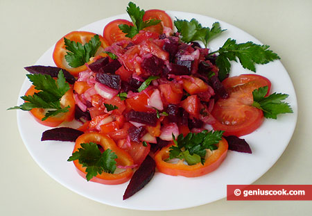Salad with Red Beet and Sauerkraut