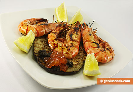 Grilled Tiger Shrimps with Red Caviar