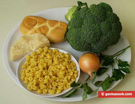 Ingredients for Baked Broccoli Pudding with Pasta and Cheese