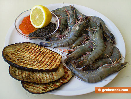 Ingredients for Grilled Tiger Shrimps with Red Caviar